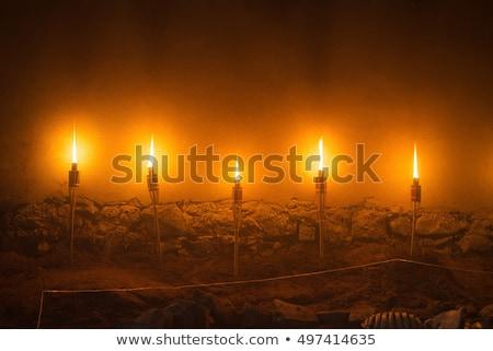 Oude toorts geïsoleerd witte brand metaal Stockfoto © cidepix