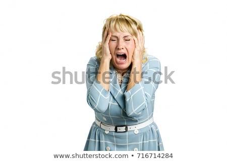 Stock fotó: Középkorú · nő · kéz · boldog · sikoly · száj