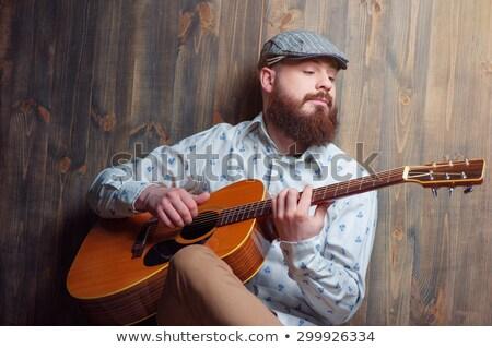 guitarra · preto · homem · rocha - foto stock © lovleah