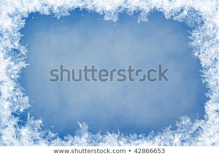 Frozen Stars Frame On Blue Background Photo stock © Supertrooper
