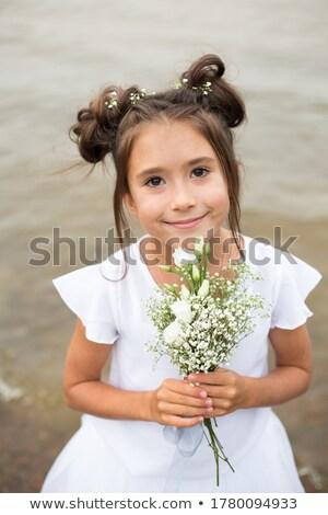 Foto stock: Noiva · flor · dama · de · honra · romântico · branco