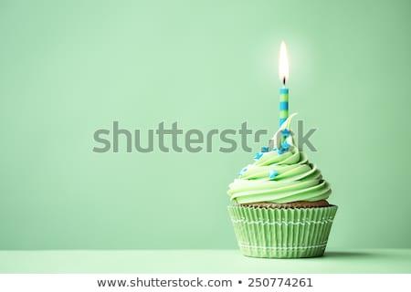 Velas de cumpleaños verde alimentos fuego torta blanco Foto stock © adamson