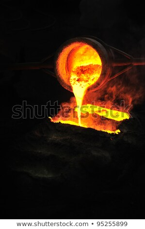 Foundry - molten metal in mould - leftover Stock photo © brozova
