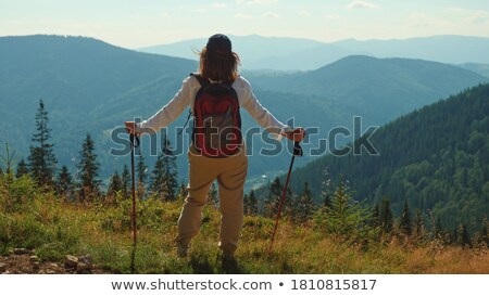 Foto stock: Femenino · mochila · mano · deporte · fitness · viaje