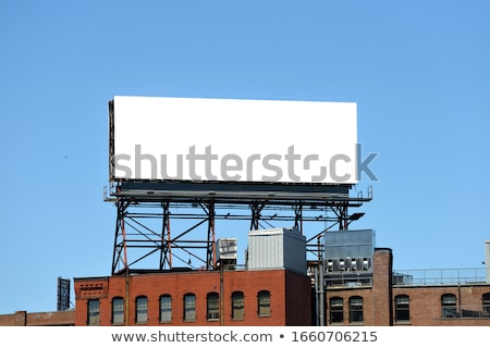 Blue Background with Empty Billboard Trees and Road Stock photo © WaD
