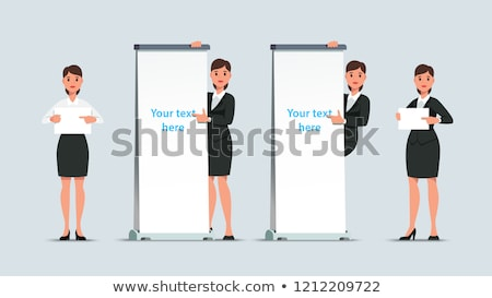 Corporate lady promoting blank placard Stock photo © stockyimages