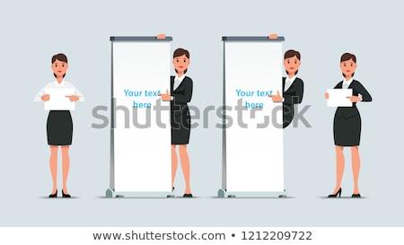 Vállalati hölgy promótál plakát izolált fehér Stock fotó © stockyimages