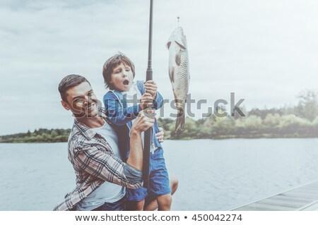 отцом сына рыбалки берег реки человека природы деревья Сток-фото © photography33