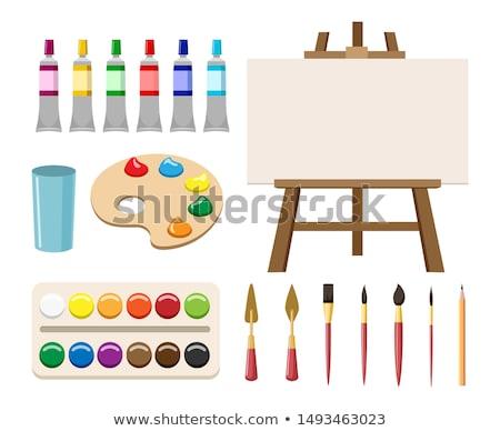Schildersezel palet kunstenaar geïsoleerd witte ontwerp Stockfoto © vankad