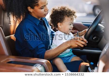 Anne oğul oynama direksiyon televizyon çocuk Stok fotoğraf © photography33