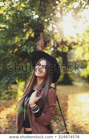pretty teen brunette with a chic hair Stock photo © OleksandrO