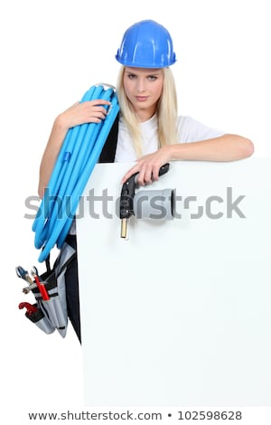 Blond woman holding blow torch Stock photo © photography33