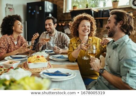 Boldog étel barátok vicces étel pár Stock fotó © pcanzo