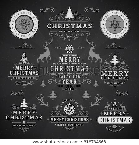 Merry Christmas blackboard banner with ribbon stock photo © marinini