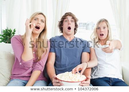 три друзей попкорн вместе страшно Сток-фото © wavebreak_media