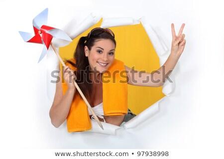 Nő kész tengerpart tart papír szél Stock fotó © photography33