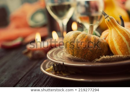 Pumpkins White Wine And Autumn Leaves Photo stock © mythja