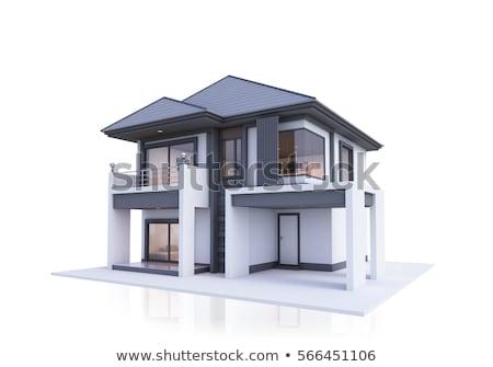 3D · modern · ház · izolált · fehér · család - stock fotó © digitalgenetics
