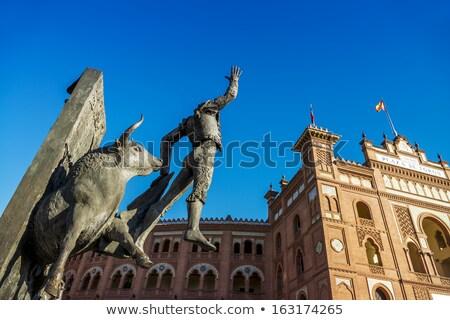 Torreádor szobor aréna égbolt kék gyűrű Stock fotó © vwalakte