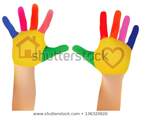 Mesh Vector EPS - 10 Child hands painted in colorful paints ready for hand prints Stock photo © Istanbul2009