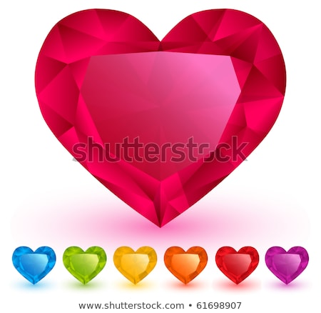 colorful gems in shape of heart isolated on white stock photo © oneo