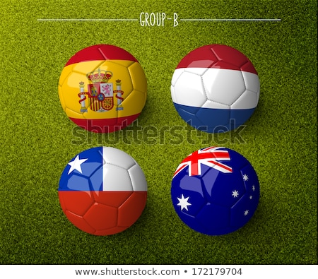 Soccer ball with Netherlands flag on pitch Stock photo © stevanovicigor