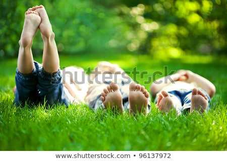 Happy children relaxing on grass in summer park Stock photo © HASLOO