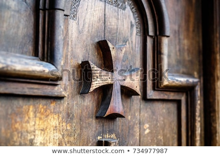 old carved wooden church door stock photo © stevanovicigor