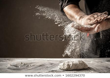 Pizza voorbereiding peperoni deegrol vers ingrediënten Stockfoto © unikpix