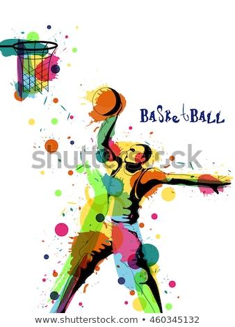 Basketbal spelers poster gekleurd man opleiding Stockfoto © leonido