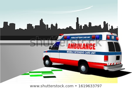 modern ambulance van over white colored vector illustration stock photo © leonido