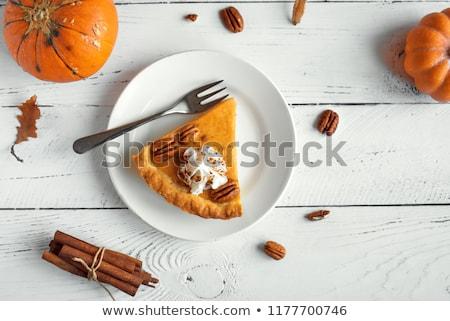 Fatia abóbora torta chantilly copo café Foto stock © brittenham