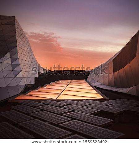 詳細 太陽光発電 パネル 電気 生産 太陽 ストックフォト © pedrosala