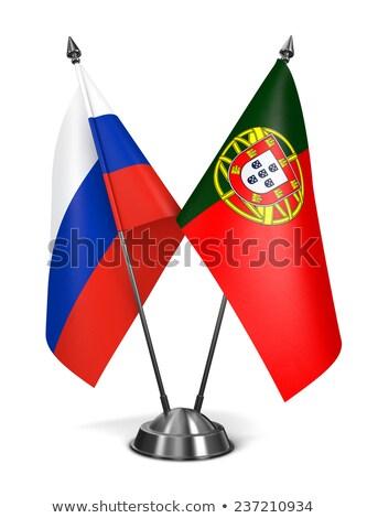 Russie Portugal miniature drapeaux isolé blanche Photo stock © tashatuvango