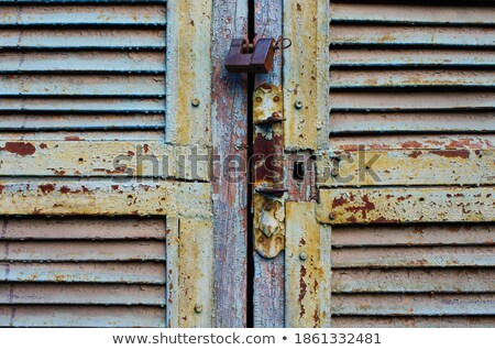 Rusty air vent in an old peeling door background Stock photo © lucielang