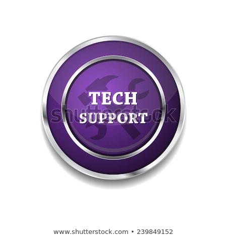 Zdjęcia stock: Tech · wsparcia · fioletowy · wektora · przycisk