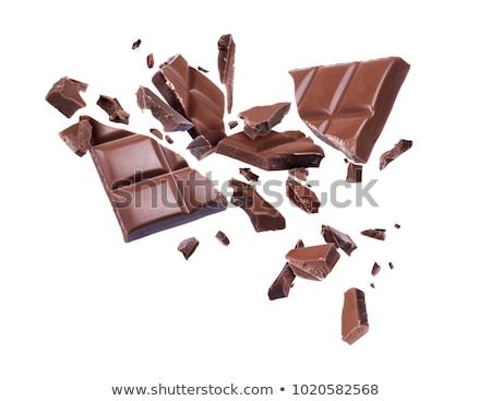 Stock fotó: Törött · csokoládé · izolált · fehér · étel · sivatag