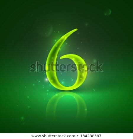 número · vetor · seis · fonte · luz - foto stock © maximmmmum