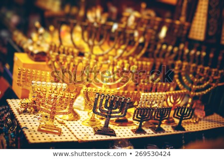 Menorah at the Jerusalem Old City Marketplace Stock photo © dariazu
