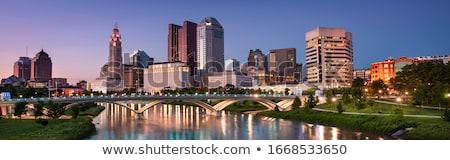 Város Ohio vízfesték művészet nyomtatott sziluett Stock fotó © chris2766