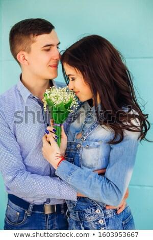 belle · mariée · fleurs · permanent · fenêtre - photo stock © dolgachov
