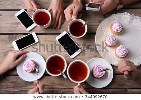 Tè tempo tavola set piatto Foto d'archivio © madelaide