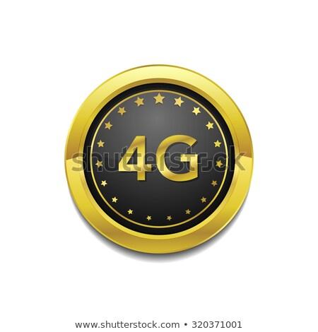 4g felirat körkörös arany vektor gomb Stock fotó © rizwanali3d