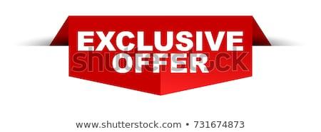 Stok fotoğraf: özel · teklif · kırmızı · vektör · ikon · düğme