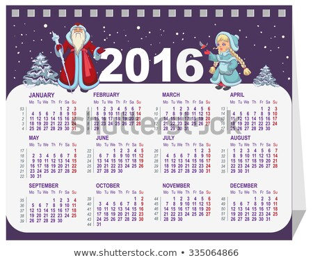Russian Santa Claus and Snow Maiden. Calendar for 2016 Stock photo © orensila