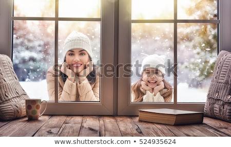 Foto stock: Inverno · família · suporte · neve · sorrir · homem