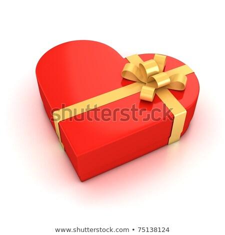 Bianco cuore scatola regalo rosso felice Foto d'archivio © manaemedia