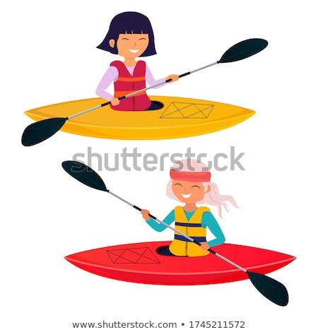 девушки байдарках иллюстрация весело реке смешные Сток-фото © adrenalina