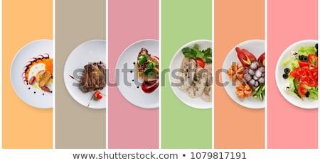 ストックフォト: フライド · チーズ · 魚 · 緑 · サラダ · ケーキ