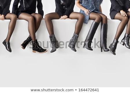 женщины ног черный кружево чулки изолированный Сток-фото © kentoh